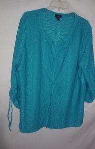 Erika Turquoise Textured Tunic Top XL Plus